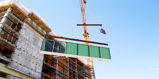 installation: custom curtain wall, window wall and metal wall